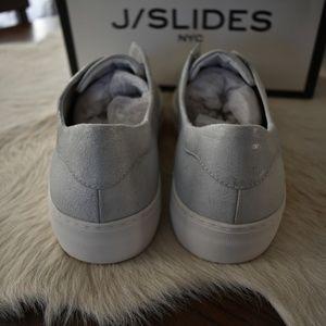 J/SLIDES Shoes - CCO NWT J/SLIDES silver metallic suede slip ons